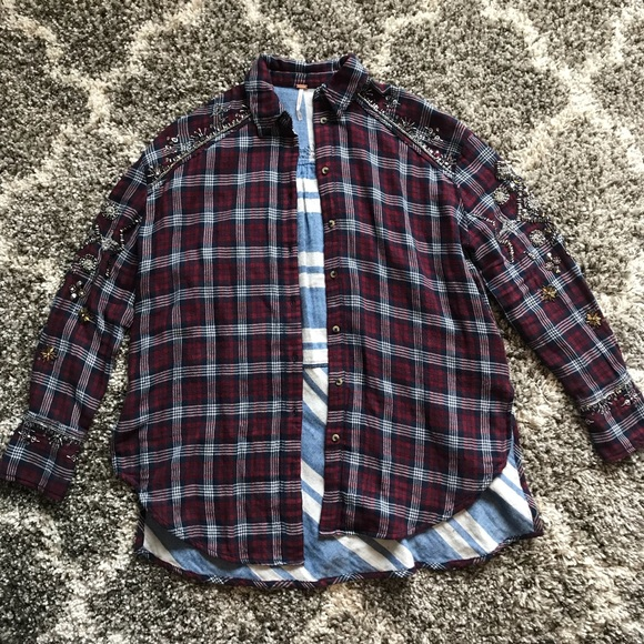 47d368bc0b Free People Tops - Free People downtown romance embellished plaid top